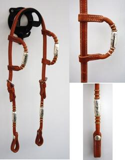 Double-ear headstall w silver pipes/rawhide