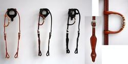 Headstall one-ear basket w silver pipes/rawhide