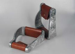 Aluminum stirrups, curved, engraved
