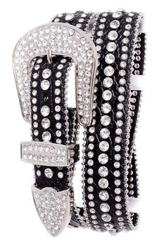 RHINESTONE STUDDED LEATHER BELT