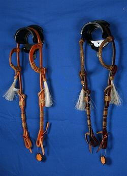 Show headstall double-ear rawhide