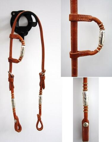 One-ear headstall w silver pipes/rawhide