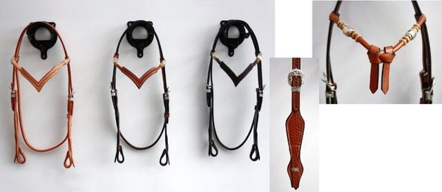 Headstall basket w silver pipes/rawhide, V
