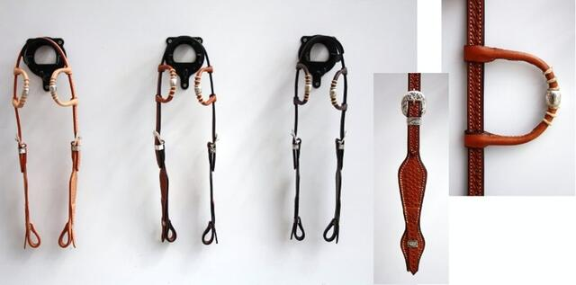Headstall double-ear basket w silver pipes/rawhide