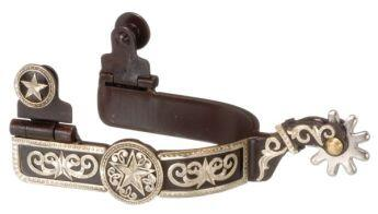 Antique Brown Spurs with Engraved Star Overlay Ladies