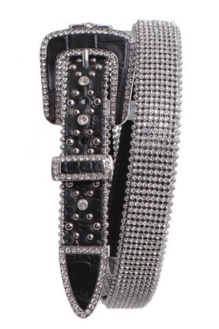 MESH RHINESTONE STUDDED LEATHER BELT