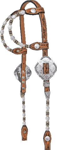 Show headstall double ear rawhide deluxe