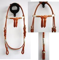 Headstall silver pipes/rawhide, futurity