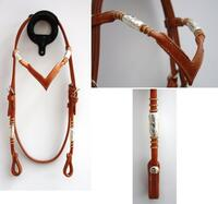 Headstall silver pipes/rawhide, V browband